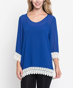 Look what I found on #zulily! Royal Blue Crochet Tunic - Women by Jella Couture #zulilyfinds