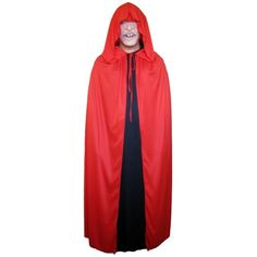 SeasonsTrading Red Cloak made of smooth & stretchy premium polyester fabric with large hood and tie closure. The edges feature overlock stitch finish to strengthen durability. Includes Red Cloak only. Devil Halloween Costumes, Vampire Costumes, Devil Costume, Halloween Vampire, Handmaids Tale Costume, Rainbow Costumes, Movie Character Costumes, Black Cape, Renaissance Costume