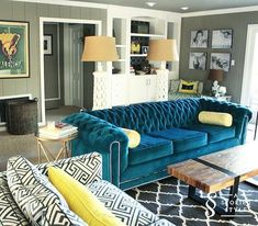 Architecture Teal Couch Living Room With Yellow Sofa How To In Furniture Decorations 16 Teal Living Room Furniture, Teal Living Rooms, Living Room Decor Colors, New Living Room, Living Room Modern, Living Room Sofa, Room Colors, Furniture Nyc, Living Area