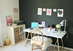 Inspired by @Shannon Herman | Burlap and Lace Blog blog, use gold spray paint on the IKEA LERBERG trestles, and add a little glam to your home office.