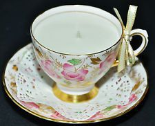 TUSCAN PINK CHINTZ TEA CUP & SAUCER PURE SOY CANDLE BREAST CANCER AWARENESS GIFT