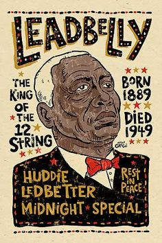 Leadbelly poster signed by Grego  blues folk art  by MojohandBlues, $10.00