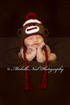 Newborn Photo Idea . . . Chunky Sock Monkey Baby . . . Composite Photo - Baby was supported by an adult at all times. Safety first!