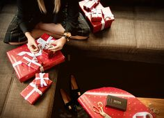 Danielle adds the final touches to her holiday gifts from BOSS