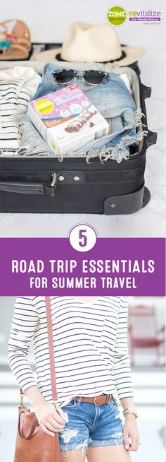 Pack your bags, it's adventure time! This collection of 5 Road Trip Essentials for Summer Travel gives you everything you need to make the most of your vacation—like comfy outfit inspiration and ZonePerfect® Revitalize Nutrition Bars for snack ideas to keep you going. Found in a variety of tasty flavors, make sure to stock up on this good-for-you treat before you start heading to your destination.