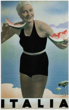Home Wall Art Print - Vintage Travel Poster - ITALIA - A4,A3,A2,A1