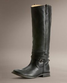I'm obsessed with Frye boots Women's Anitque Shirley Riding Plate Boot - Black