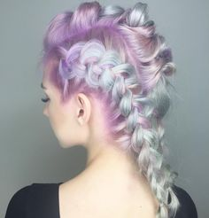 A Fairy Tale Come True Delicate Pastel Hair Color and gorgeous braided style by @chitabeseau lavender hair mint green hair pastel color melt braids braid photo hotonbeauty.com