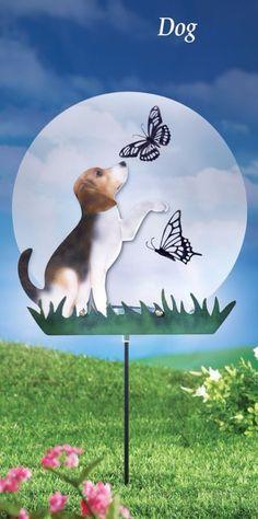 Silhouette Dog Playing with Butterflies Solar Powered Garden Stake Yard Decor #GardenStake #Adorable #Dog #Silhouette #YardStake #Lights #SolarPowered #Sparkling #DoorDecor #YardDecor #Stake #GardenDecor #Outdoor #HomeDecor