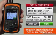 The DeLorme inReach Explorer is a satellite communicator and GPS tracking device that sends and receive text messages, can send an SOS message for help, and track your route and GPS waypoints, even when you are out of range of cell phone towers and wireless networks.