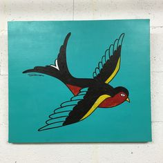 【swallow】  traditional tattoo motif. A sailor with 1 swallow tattoo shows that he sailed more than 5,000 miles, and a Sailor with 2 swallow, shows that he sailed more than 10,000 miles as hero.Swallows also fly back to same area as a couple in the spring from Acrylic & oil & Gouache on Canvas  530mm x455mm$950 each  #showatanabe #polugallery #popart #artist #comtemporaryart #collage #canvas #original #paradiselost
