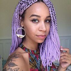lavender yarn braids lilac hair pastel hair black girl with colorful hair purple hair colorful box braids Click image for more. Yarn Braids Styles, Bob Box Braids Styles, Short Box Braids, Bob Braids, Box Braids Styling, Braid Styles, Curly Hair Styles, Natural Hair Styles, Box Braids Hairstyles