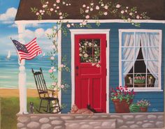 Summer on the Porch ORIGINAL Folk Art Painting by KimsCottageArt, $59.95