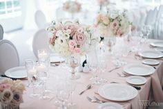 WedLuxe – Pretty-in-Pink Garden Wedding Pink Wedding Decorations, Wedding Table Flowers, Wedding Table Settings, Wedding Tables, Flower Centerpieces, Wedding Centerpieces, Dusky Pink Weddings, Pink Garden, Garden Theme