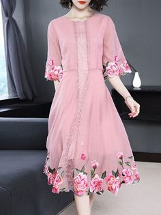 Lace Half Sleeve Round Neck Sweet Regular Dress Material:Chiffon Silhouette:A-Line Dress Length:Mid-Calf Sleeve Length:Half Sleeve. Pakistani Dresses, Indian Dresses, Indian Clothes, Half Sleeves, Types Of Sleeves, Embroidery Suits Punjabi, Casual Dresses, Fashion Dresses, Maxi Dresses