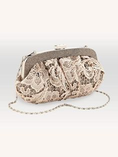 Lace overlay clutch