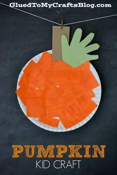 Awesome Orange Paper Plate Pumpkin Craft for Preschool - 2014 Thanksgiving, Green Handprint #2014 #Thanksgiving