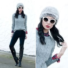 Ily Couture Bacara Square Luxe Bracelet, Abercrombie & Fitch Shannon Flannel Shirt, Abercrombie & Fitch Celeste Sweater, Abercrombie & Fitch Velvet Leggings, Abercrombie & Fitch Sparkle Shine Bracelet, Prada Baroque Glasses, Marc By Marc Jacobs Over The K