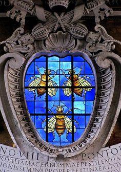 Stained Glass Church Window  Italian Charm 9 mm in Glitter  White Cross