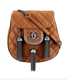 Chanel quilted crossbody handbag with chain metal tassels
