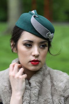 Feabhra - a wool felt vintage style pillbox / cocktail hat inspired by the 1930's with vintage brooch