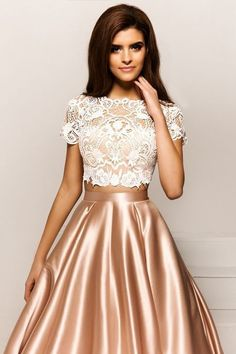 Bateau Neck party dress Two Pieces prom gowns Short Sleeves ball gowns Lace Evening Dress Prom Dressessexy prom gownsnew fashion - Alison Dress Prom Dresses With Sleeves, Lace Evening Dresses, Elegant Dresses, Pretty Dresses, Sexy Dresses, Evening Gowns, Fashion Dresses, Formal Dresses, Tight Dresses