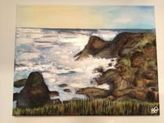 Crashing Waves, by Emily Doerr, my painting for sale on Etsy. - EmilysArtandDesign