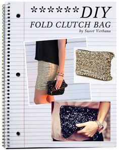 ::: OutsaPop Trashion ::: DIY fashion by Outi Pyy :::: DIY folded sequin clutch bag tutorial
