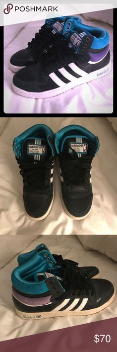 Adidas Top Ten NBA High Top Sneakers 👟 8.5 Can you jump higher with these? No. But will you look hella good. Yes. Perfect for the sneaker collector and hightop aficionados. ☄️ adidas Shoes Sneakers