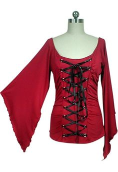 ChicStar - Stretchy Lace Up Gothic Corset Jersey Top - Red