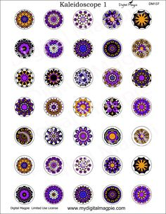 Kaleidoscope digital collage sheet 1 inch circles by DigitalMagpie
