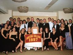 Dan Buckley '97 and Kristin (Gillooly) Buckley met freshman year, living in Cushing on Newton campus. They graduated in 1997 and married in 2003. The picture is from their wedding and you can see the many BC alumni who were there!