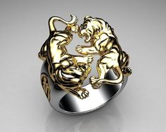 Unique Mens Ring Lion Ring Sterling Silver and Gold with Black Diamonds By Proclamation Jewelry | Flickr - Photo Sharing! #men'sjewelry