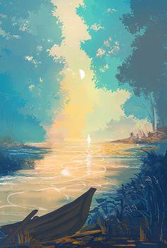 A river at sunset Fantasy Landscape, Landscape Art, Fantasy Art, Wallpaper Animes, Wallpaper Backgrounds, Live Wallpapers, Art Japonais, Wow Art, Anime Scenery