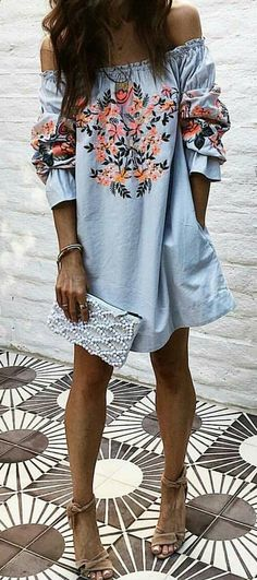 #spring #outfits Blue Floral Off The Shoulder Dress + Brown Sandals