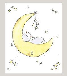 Nursery Art Print Golden Slumbers 5X7 by trafalgarssquare on Etsy, $10.00