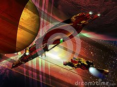 Mother-ship and shuttle navigating through several planets, close to the rings of one of them.