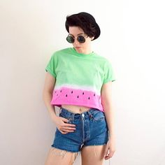 Watermelon Crop Top Tie Dye Summer Festival Hipster Tumblr 90s