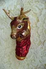 "Larry Fraga Blown Glass Ornament ""Surprise"" Reindeer in Christmas Stocking"