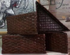14x14x20  HEIGHT=6 inches TRIANGULAR  basket  - painted recycled paper - storage- get organized