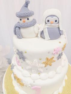 Cake from a Winter ONEderland Birthday Party via Kara's Party Ideas KarasPartyIdeas.com (12)