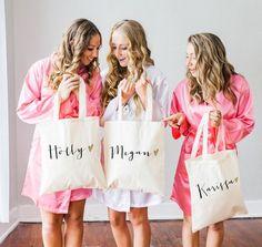Bolsa personalizada de regalo para damas de honor nombre