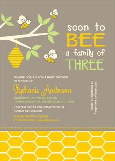 Neutral bee baby shower family three frame invite - BSI-011 on Etsy, $12.00