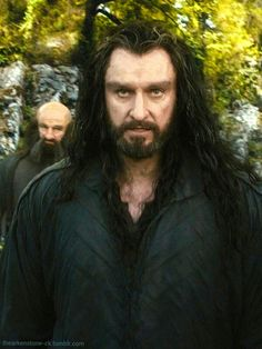 Dwalin in the background. He looks so angry that the camera is pointed at Thorin.