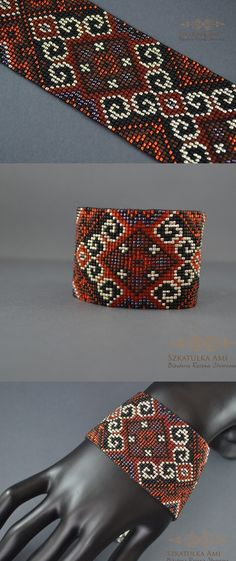FREE SHIPPING Brown red Indian Pattern seed beads jewelry seed beads bracelet seed beads loom loom bracelet weaving bracelets (35.00 USD) by SzkatulkaAmi