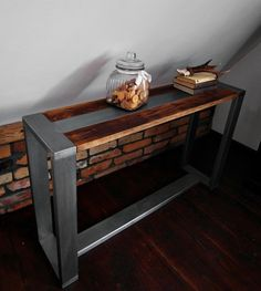Industrial vintage style console table, made from reclaimed wood and steel thats over 100 years old. A solid and soulful piece of organic