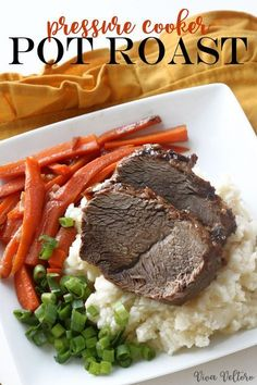 This is THE most flavorful pot roast and it's made in just 35 minutes! Check out this pressure cooker pot roast recipe made in just the #CrockPot Express Crock Multi-Cooker. #PressueCookers #ad