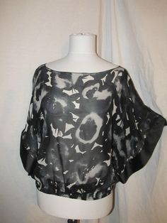 Sz S Express Black Gray Floral Sheer Chiffon Casual Top Dolman Sleeves Elastic #Express #Blouse #Casual
