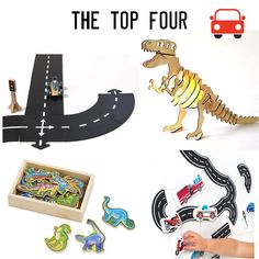 The top 4.  Choose from 4 sized WAYTOPLAY packs for roads anywhere! The gorgeous Wooden T-Rex lamp will turn any bedroom into a favourite space. Bath fun traffic is a constant best seller. And add some dinosaur magnets to your fridge. All fun and fabulous. http://www.lucaslovescars.com.au