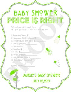 The Price is Right Baby Shower Game Gray & Lime